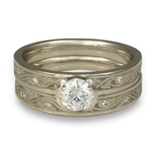 Extra Narrow Wind and Waves Bridal Ring Set with Gems in Diamond