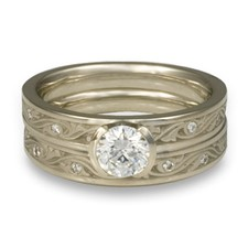 Extra Narrow Wind and Waves Bridal Ring Set with Gems in Platinum