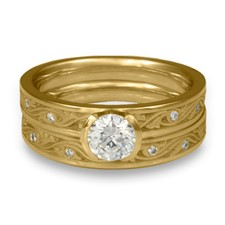 Extra Narrow Wind and Waves Bridal Ring Set with Gems in 14K Yellow Gold