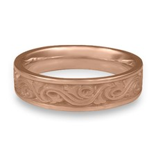 Narrow Wind and Waves Wedding Ring in 14K Rose Gold