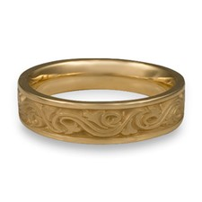 Narrow Wind and Waves Wedding Ring in 14K Yellow Gold