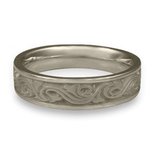 Narrow Wind and Waves Wedding Ring in Stainless Steel