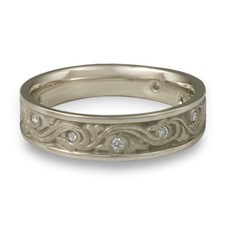 Narrow Wind and Waves Wedding Ring with Gems  in Palladium