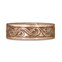 Wide Wind and Waves Wedding Ring in 18K Rose Gold