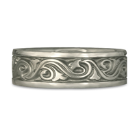 Wide Wind and Waves Wedding Ring in Stainless Steel