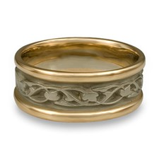 Narrow Two Tone Tulips and Vines Wedding Ring in 14K Yellow Gold Borders w 14K White Gold Center
