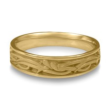 Narrow Paradise Flower Wedding Ring in 14K Yellow Gold