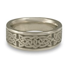 Wide Galway Bay Wedding Ring in 14K White Gold