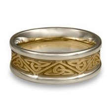 Narrow Two Tone Trinity Knot Wedding Ring in 14K Gold Yellow Borders/White Center Design
