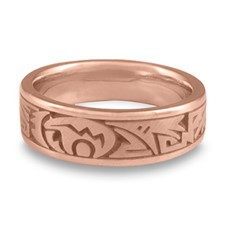 Narrow Heartline Bear Wedding Ring in 14K Rose Gold