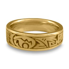 Narrow Heartline Bear Wedding Ring in 14K Yellow Gold