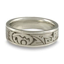 Narrow Heartline Bear Wedding Ring in Platinum