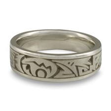 Wide Heartline Bear Wedding Ring in 14K White Gold