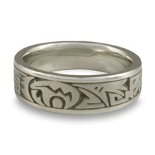 Wide Heartline Bear Wedding Ring in Stainless Steel