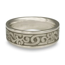 Wide Luna Wedding Ring in 14K White Gold