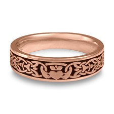Narrow Claddagh Wedding Ring in 14K Rose Gold