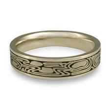 Narrow Zen Garden Wedding Ring in 18K White Gold