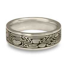 Wide Zen Garden Wedding Ring in Platinum