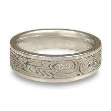 Wide Zen Garden Wedding Ring with Gems in Platinum