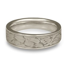 Narrow Cherry Blossom Wedding Ring in Platinum