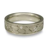 Narrow Cherry Blossom Wedding Ring with Gems in Palladium