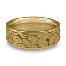 Wide Cherry Blossom Wedding Ring in 14K Yellow Gold