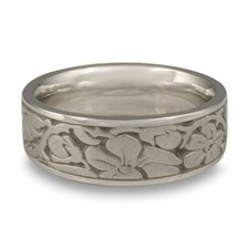 Wide Cherry Blossom Wedding Ring in Stainless Steel