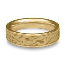 Narrow Cranes Wedding Ring in 14K Yellow Gold