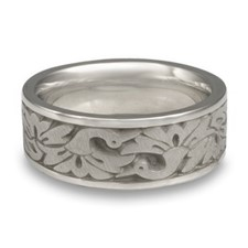 Wide Cranes Wedding Ring in Platinum