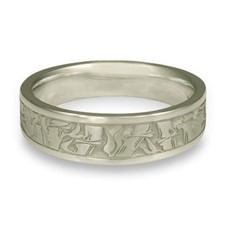 Narrow Bamboo Wedding Ring in Platinum