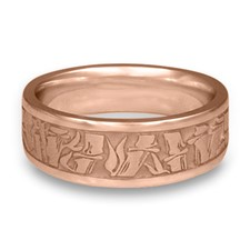 Wide Bamboo Wedding Ring in 14K Rose Gold