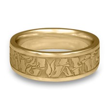 Wide Bamboo Wedding Ring in 14K Yellow Gold