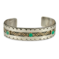 Celtic Wave Bracelet Cuff with Gem in 18K Yellow Gold Design w Sterling Silver Base