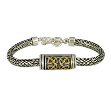 Scroll Slider Bracelet in 14K Yellow Gold Design w Sterling Silver Base