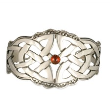 Celtic Cuff Bracelet with Gem in Sterling Silver