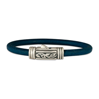 Flores Leather Bracelet in Sterling Silver