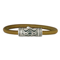 Pictish Leather Bracelet in Sterling Silver