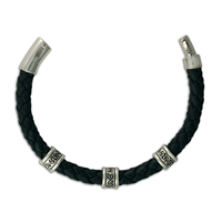 Animas Leather Bracelet 8mm in Sterling Silver