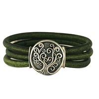 Tree of Life Leather Bracelet in Sterling Silver