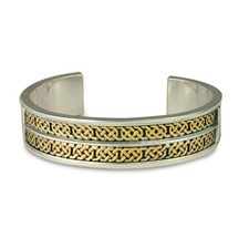 Shannon Cuff Bracelet in 14K Yellow Gold Design w Sterling Silver Base