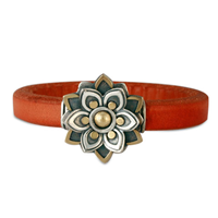 Kamala Leather Bracelet in 14K Yellow Gold Design w Sterling Silver Base
