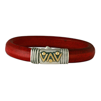 Chevron Leather Bracelet in 14K Yellow Gold Design w Sterling Silver Base