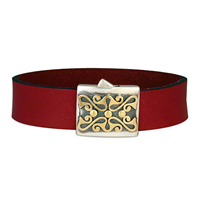 Prague Leather Bracelet in 14K Yellow Design/Sterling Base