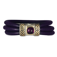 Amethyst Shannon Leather Bracelet in Amethyst