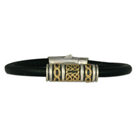 Orleans Leather Bracelet in 14K Yellow Gold Design w Sterling Silver Base