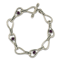 Droplet Bracelet with Gem in Amethyst