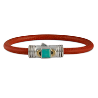 Portal Leather Bracelet in 14K Yellow Gold Design w Sterling Silver Base