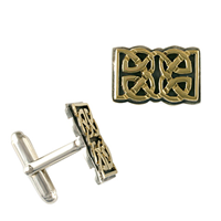 Scroll Cufflinks in 14K Yellow Gold Design w Sterling Silver Base
