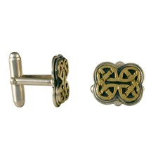 Gatsby Cufflinks in 14K Yellow Gold Design w Sterling Silver Base