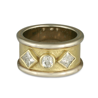 King s Ring with Diamonds in 14K Yellow Gold Design w Sterling Silver Base